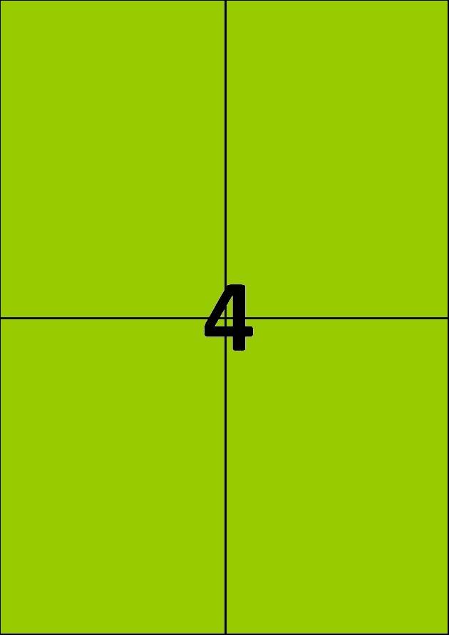 4 etiquettes vertes par A4 - Ref 256 V