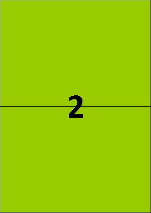 2 etiquettes vertes par A4 - Ref 261 V